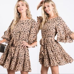 NEWEST OBSESSION RUFFLED SLEEVES DRESS